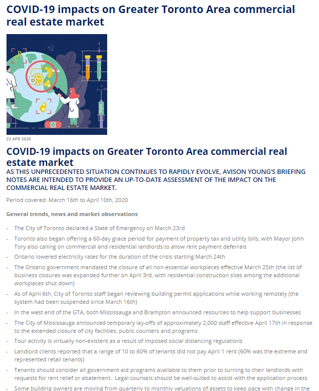 COVID-19 impacts on Greater Toronto Area commercial real estate market