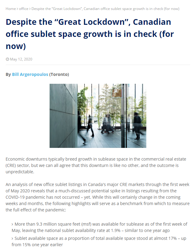 "Despite the ""Great Lockdown"", Canadian office sublet space growth is in check (for now)"