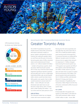 Avison Young's Second Quarter 2020 Greater Toronto Area Commercial Real Estate Investment Review