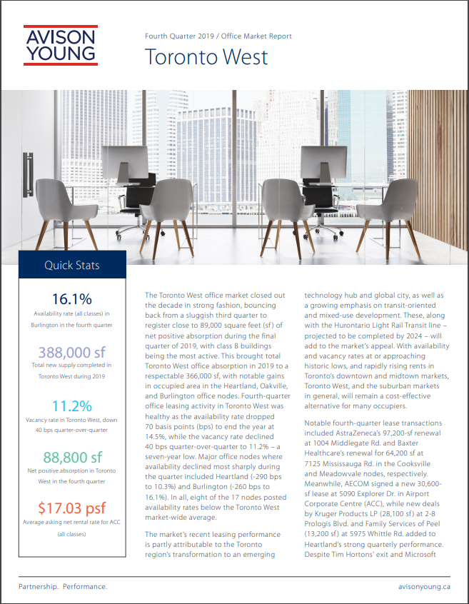 Fourth-Quarter 2019 Greater Toronto Area Commercial Real Estate Investment Review